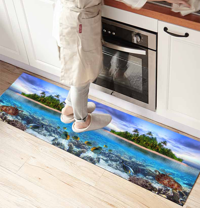 Else Tropical Sea Island Under Water World 3d Print Non Slip Microfiber Kitchen Counter Modern Decorative Washable Area Rug Mat