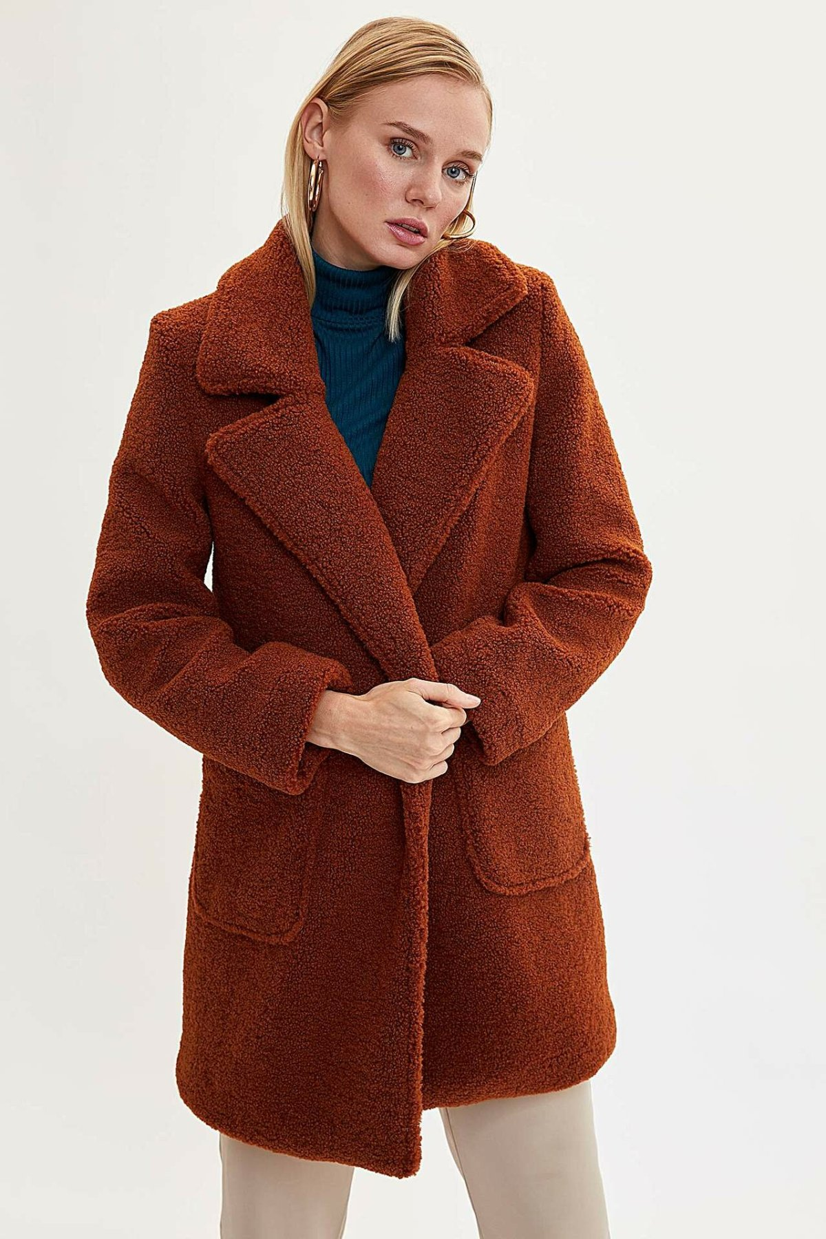 DeFacto Lady Fashion Lapel Collar Thicken Jacket Women Solid Elegant Warm Long Coat Winter New - L9617AZ19WN