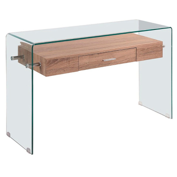 Minimalist design console made entirely of curved glass with transparent finish and bottom shelf free shipping