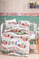Lady Moda Train 4 pcs Flannel Baby Bedding Set for winter | 100x150 cm 100% cotton cartoon baby bed linen set from Turkey