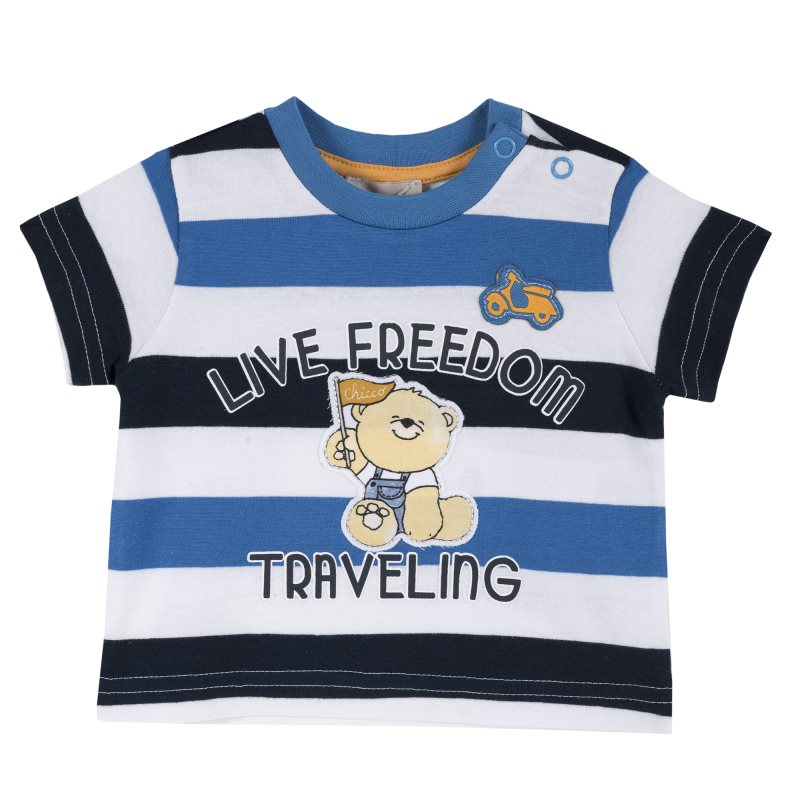 T-shirt Chicco, size 080, print bear live freedom traveling (White blue black stripe) bear print lace up contrast hoodie