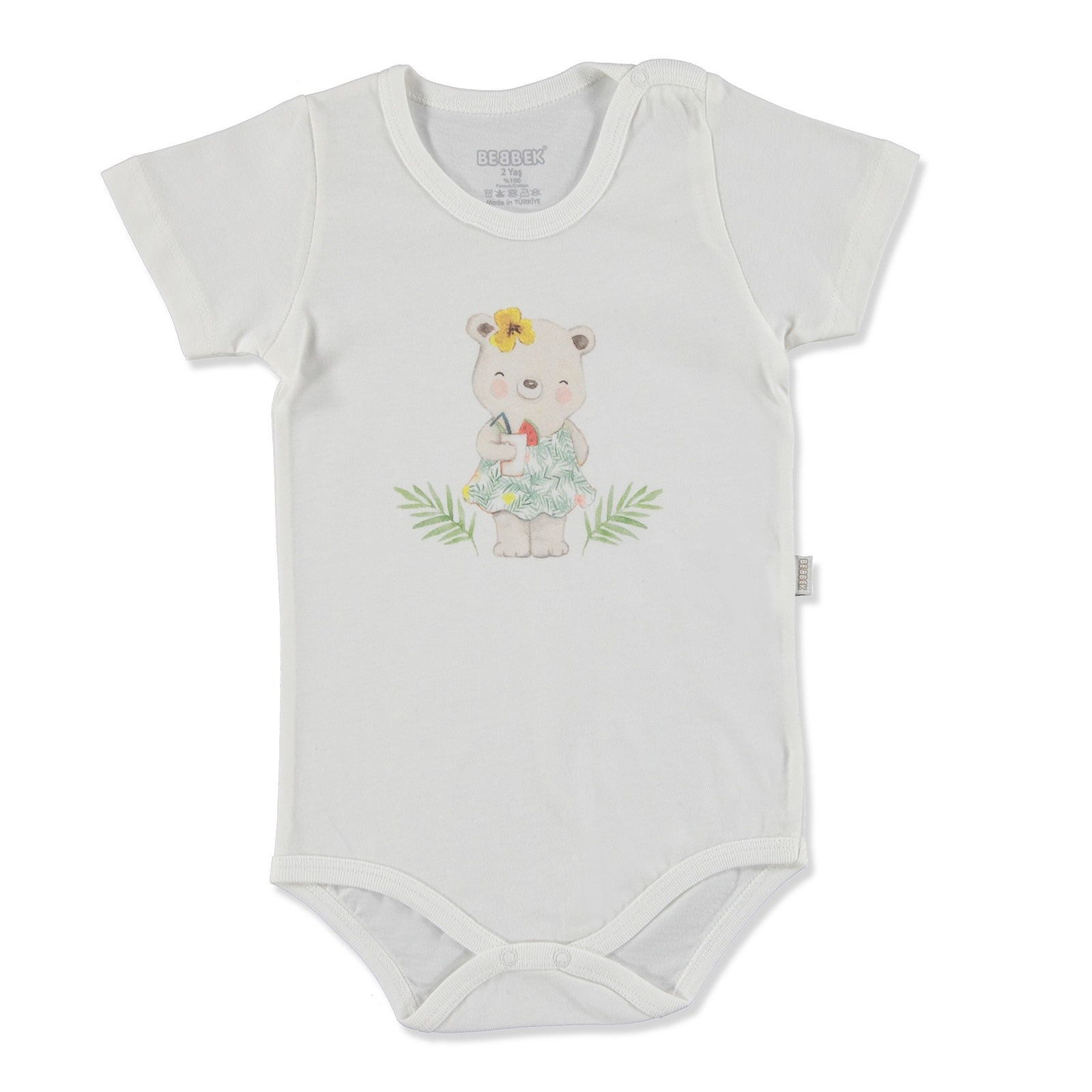 Ebebek Bebbek Summer Baby Girl Tropical Supreme Crew-Neck Bodysuit