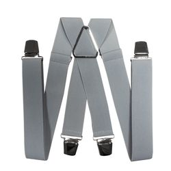 Suspenders for trousers wide (3.5 cm, 4 clips, gray) 55133
