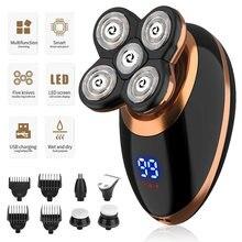 Afeitadora eléctrica en seco y húmedo para hombres máquina de afeitar eléctrica recargable con pantalla LCD, para Barba y peluquero