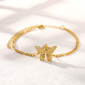 Tobilleras de mariposa, pulsera para mujer, tobilleras religiosas de piña, pulsera para mujer, Color dorado, abalorio, brazalete, tobilleras, joyería