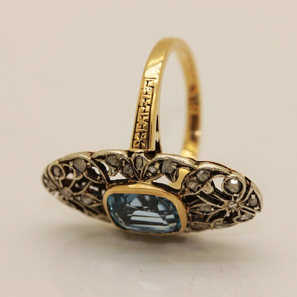 Turkish Victorian Real Diamond on Solid Rose Gold Ring