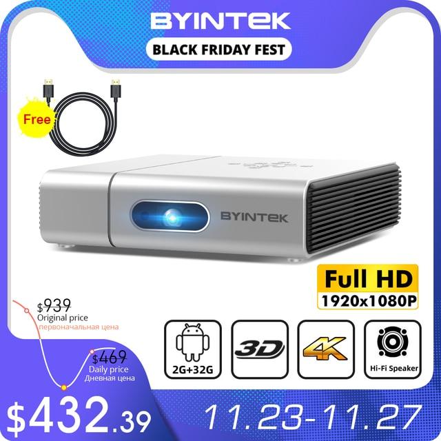 Byintek U50フルhd 1080pミニ2 18k 3D 4 18k androidスマート無線lanポータブルレーザーホームムービーled dlpプロジェクタービーマーproyector