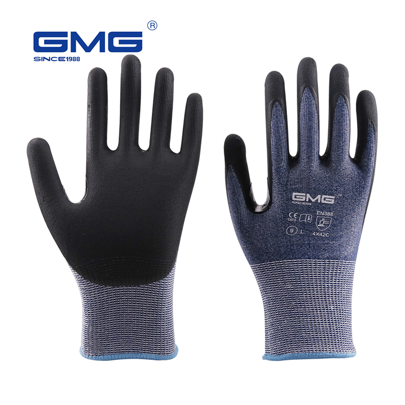 Anti Cut Gloves Level 5 2018 New GMG Blue Thin Soft HPPE Shell CE Certificated Gloves For Work Safety Mechanic Gloves Anti-cut