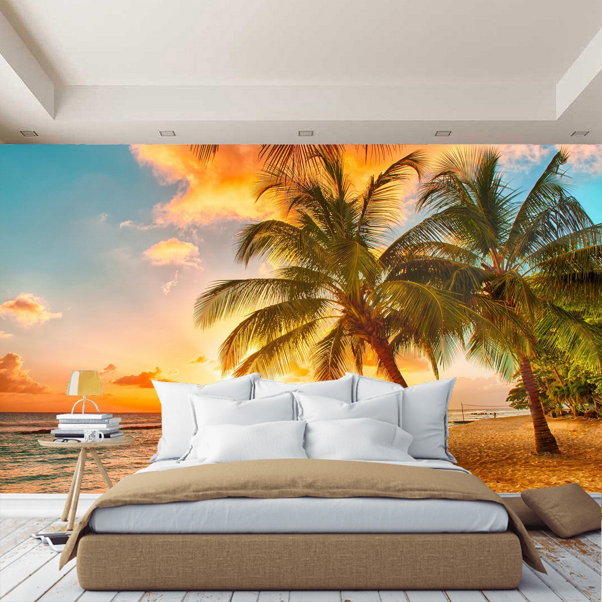 3D Photo papier peint coucher de soleil sur la plage, mer sable palmier, papier peint, hall, cuisine, chambre photo papier peint améliorer l'espace