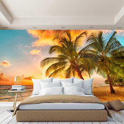3D wall mural sunset on the beach, sea sand palm, wallpaper on the wall, for Hall, kitchen, bedrooms, wall mural expanding space