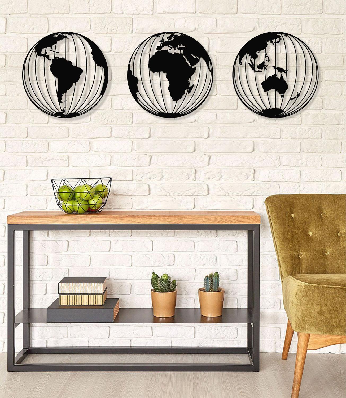 Three Metal World Map Globes Round Wall Art