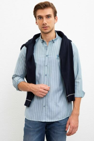 U.S. POLO ASSN. Blue Striped Slim Shirt