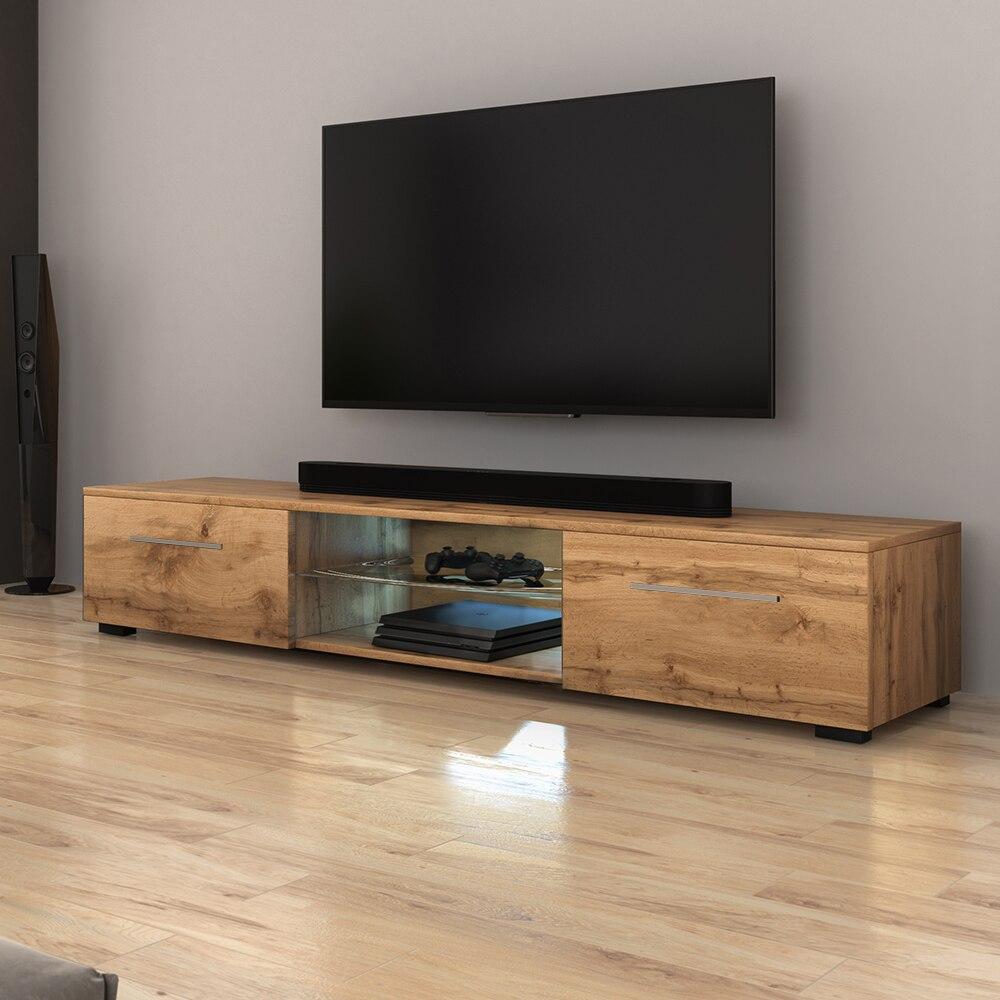 SYVIS - Meuble tv / Banc tv (chêne wotan, 140 cm, éclairage LED)