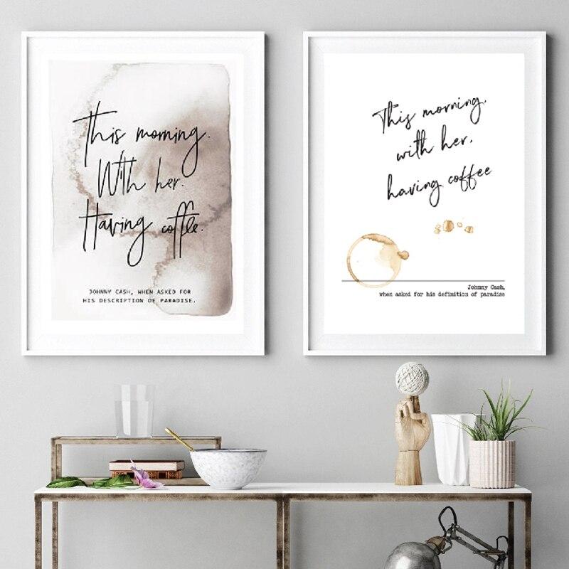 Citation Romantique Avec Johnny Cash Definition De Paradis Peinture Sur Toile Avec Son Cafe Cadeaux De Saint Valentin Aliexpress