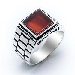 925 пробы Серебряное квадратное агатовое кольцо с вышивкой