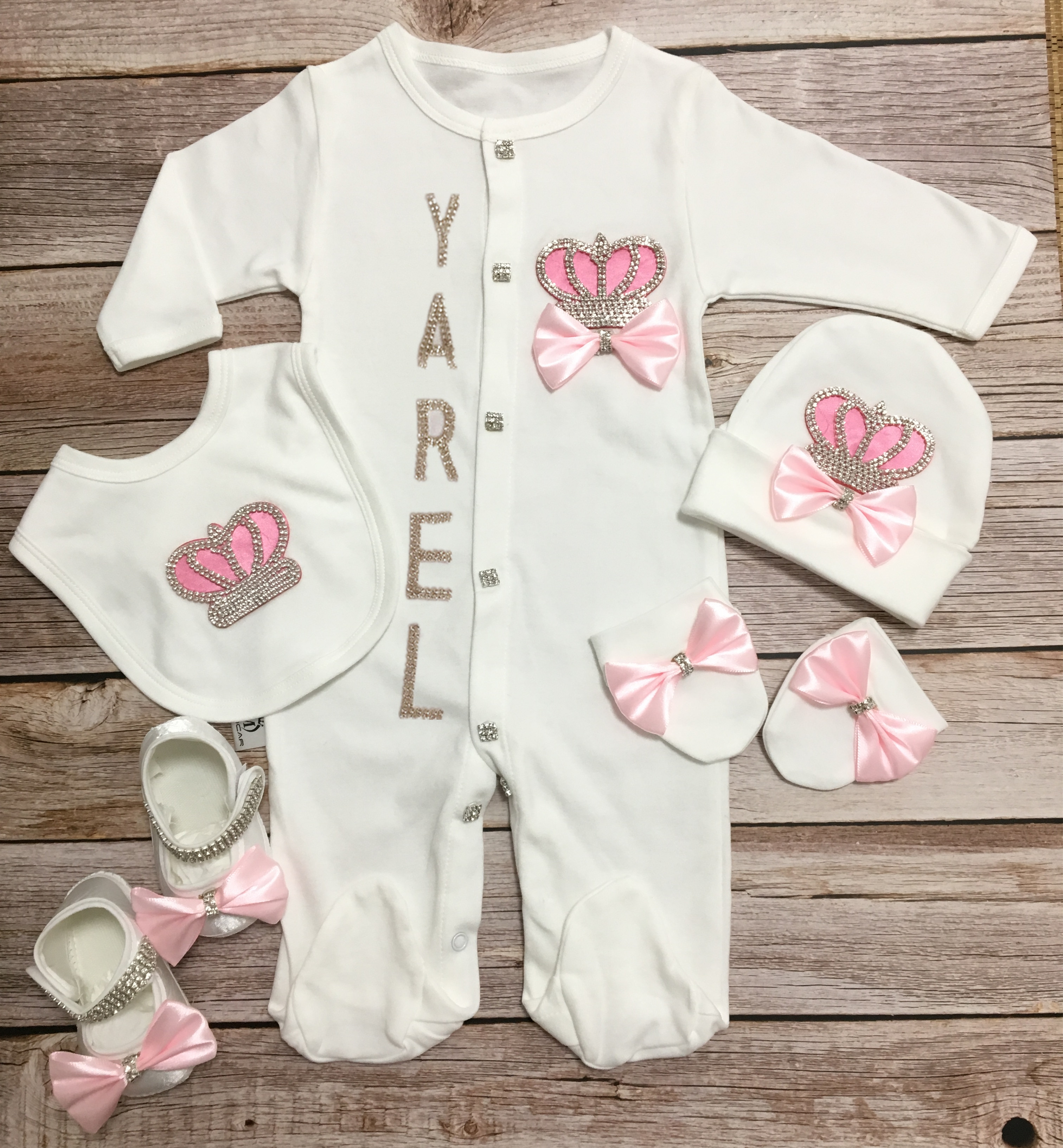 MIYOCAR 0-6m with gift box custom name baby crown rhinestone clothes set one piece bodysuit set baby shower gift S6-C image