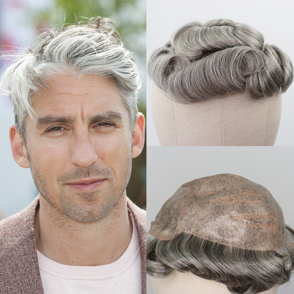 YY Wigs Men Toupee Human Hair Replacement Swiss Lace With PU Toupee For Men 1B 80% Grey Color Mixed Natural Black Curly 6 Inch