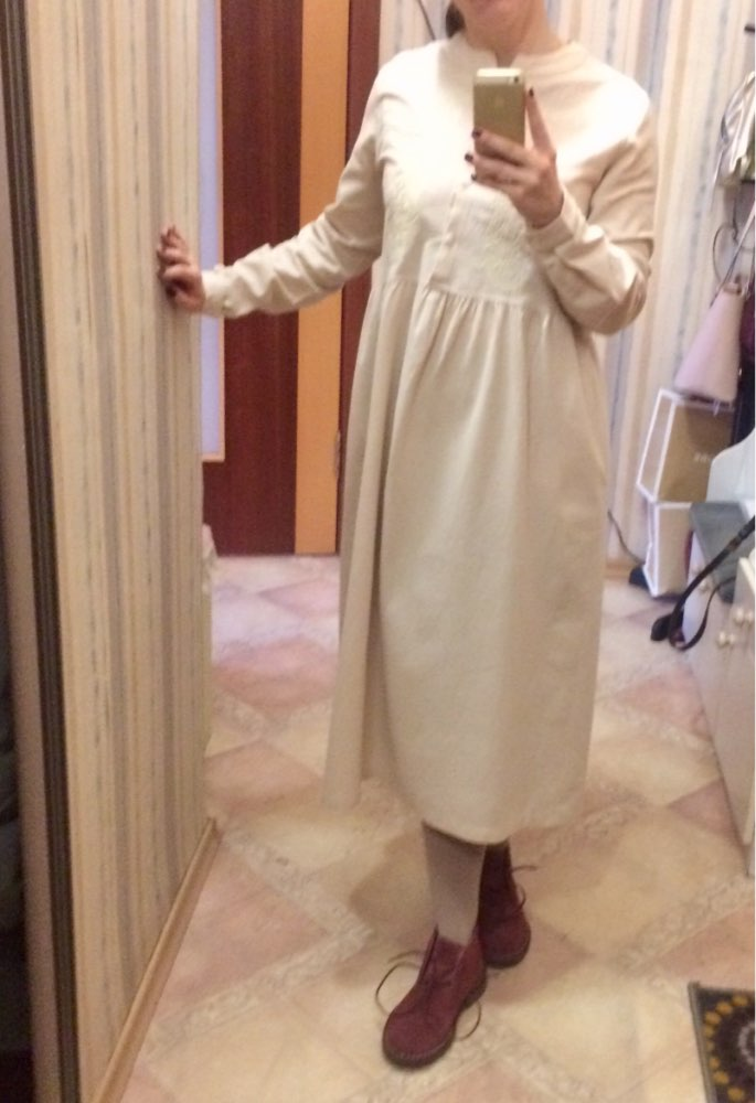 Plus Size Utumn Vintage Embroidery Long Shirt Dress Women Casual Long Sleeve Cotton Linen Loose Party Vestidos photo review