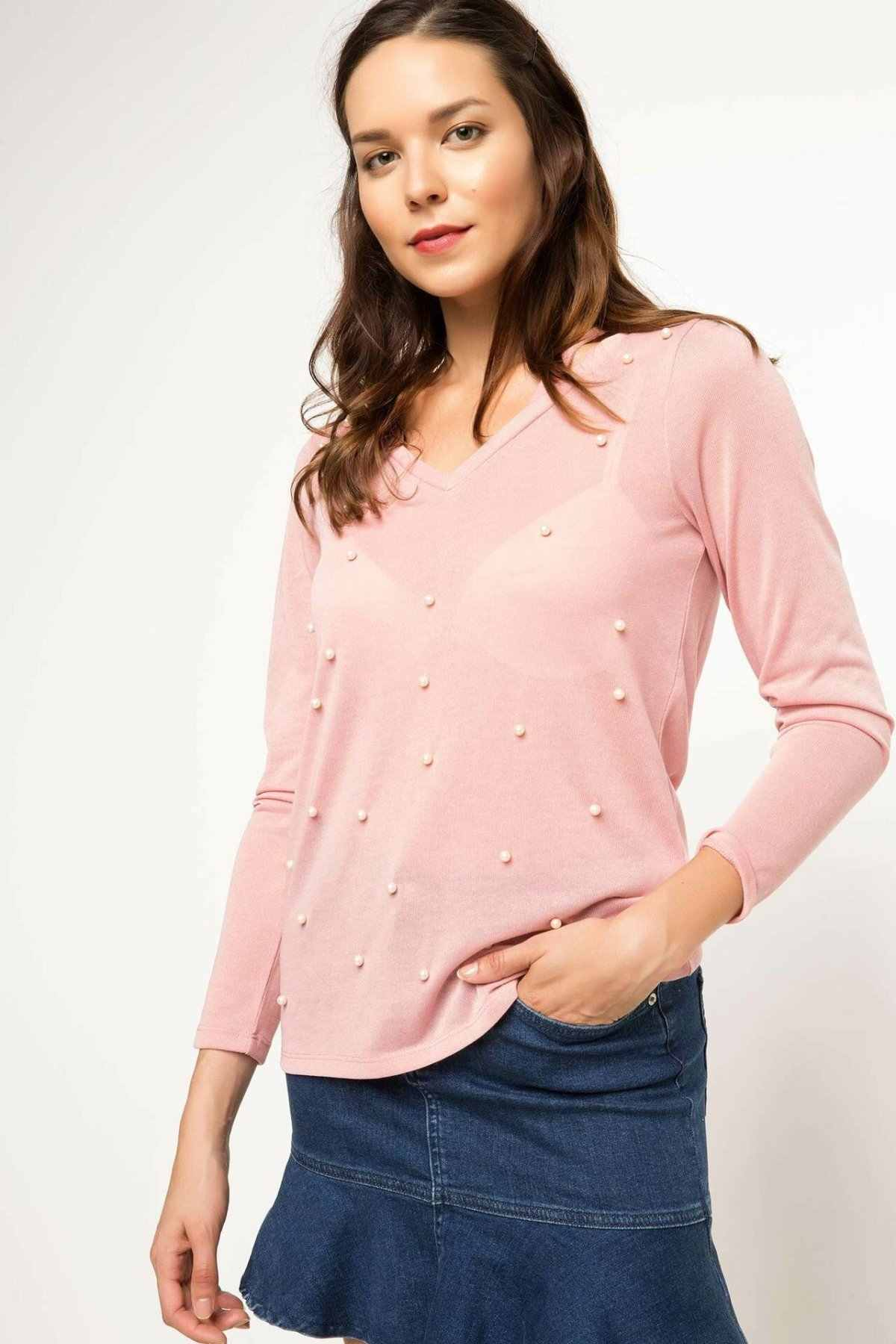 Defacto Donna Perla Pullover Delle Donne Nero Rosa di Colore a Maniche Lunghe T-Shirt in Cotone Femminile Casual Magliette E Camicette Primavera-H6776AZ17AU