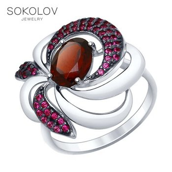 Ring. sterling silver with garnet and red cubic zirconia fashion jewelry 925 women's male