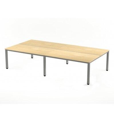 OFFICE TABLE QUADRUPLE (4 POSTS) EXECUTIVE SERIALS 320x163 ALUMINUM/BEECH