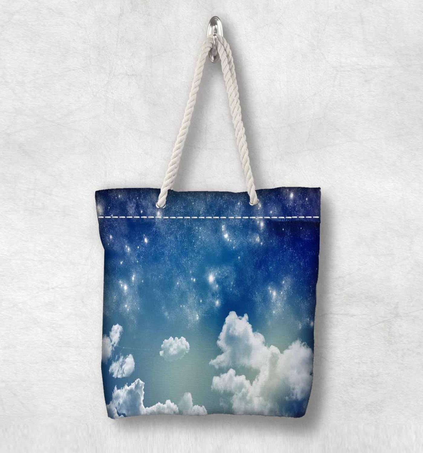 Else Blue Sky Night White Clouds New Fashion White Rope Handle Canvas Bag Cotton Canvas Zippered Tote Bag Shoulder Bag