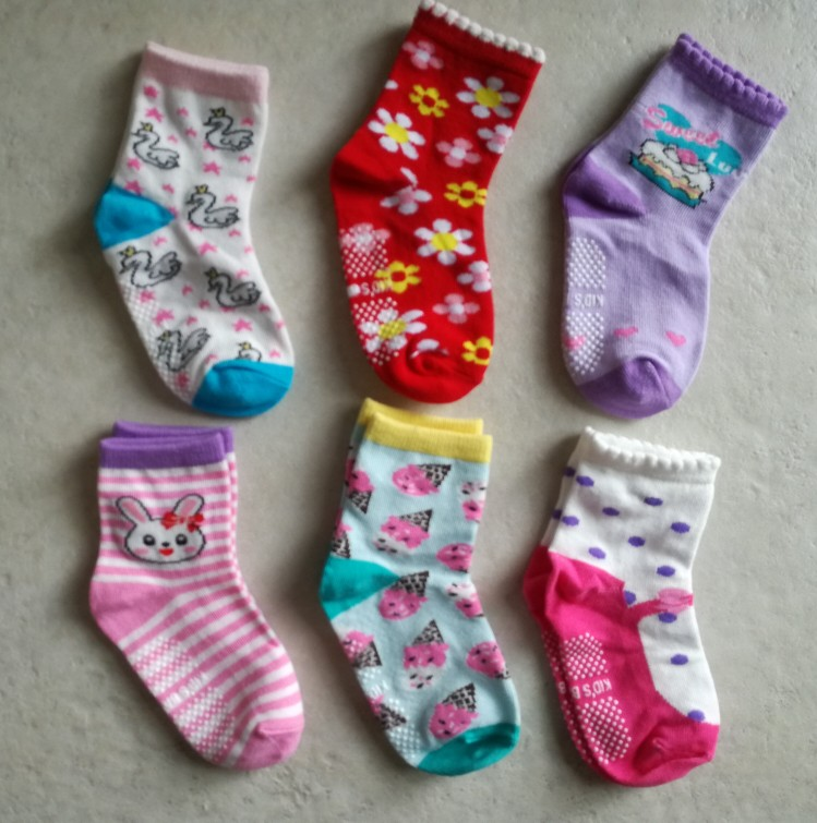 6 Pairs/lot 0 to 6 Yrs Cotton Children's Anti-slip Boat Socks For Boys Girl Low Cut Floor Kid Sock With Rubber Grips Four Season photo review