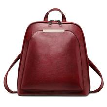 Vintage Oil Wax Leather Backpack for Women Large Capacity School Bag for Girls L