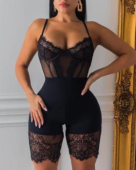 2020 Women Fashion Elegant Low Cut See Through Sexy Clubwear Romper Skinny Solid Spaghetti Strap Eyelash Lace Insert Romper lace insert backless cold shoulder romper