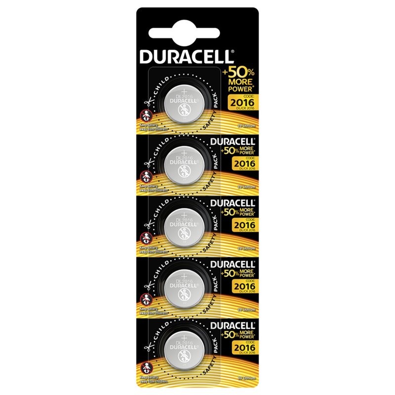 BUTTON BATTERY CR2016 LITHIUM DURACELL 5 PZ