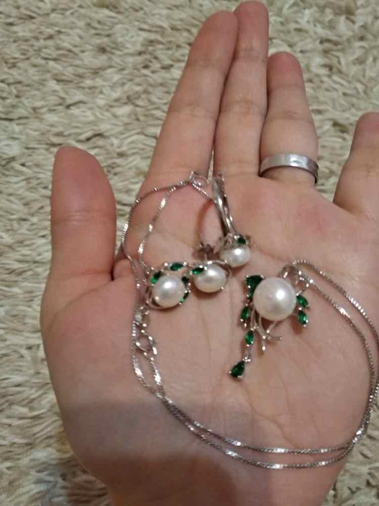 Где купить Женский комплект ювелирных изделий FENASY, из серебра 925 пробы с натуральным жемчугом и изумрудом, серьги в виде листика, ожерелье, подвеска, Помолвочное кольцо