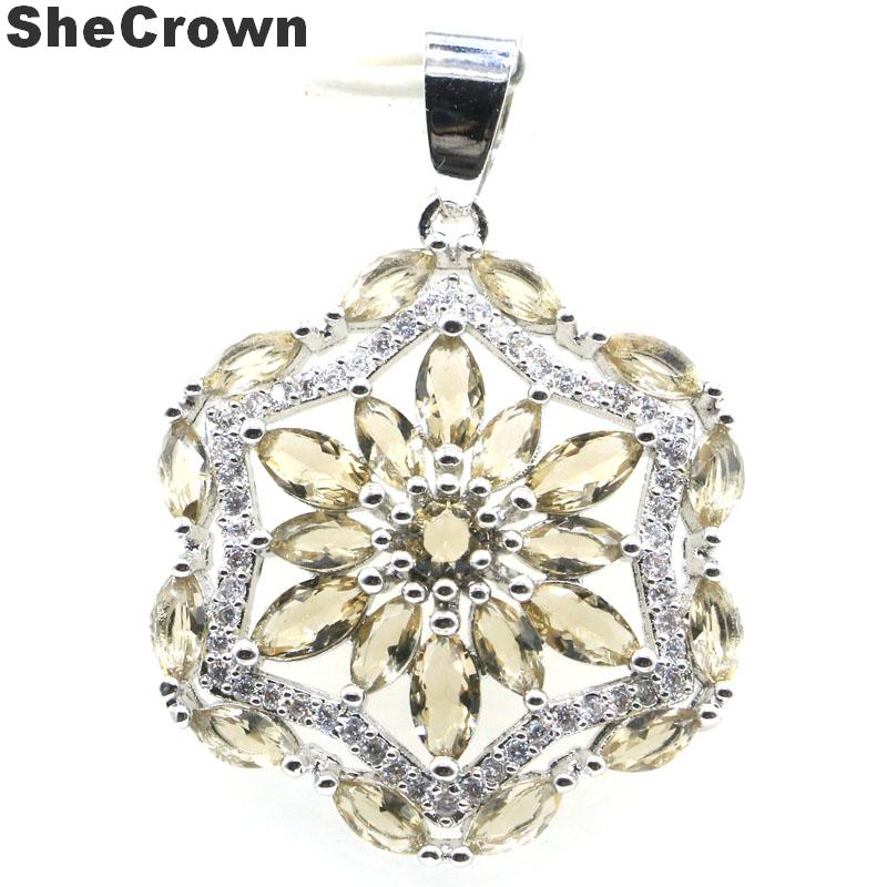 36x25mm Ravishing Star Shape Smokey Topaz White CZ Woman's Party Silver Pendant