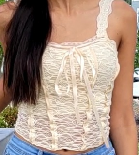 E-girl Soft girl Y2K Retro Bow Lace Top photo review