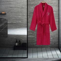 Albornoz M/L de algodón con cuello chal de Polo para casa de Eponj color rosa 100%