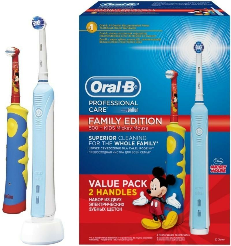 New pack Oral-B 500 Adult & Kids Family Edition Bundle Mickey Mouse Value 2 pack image