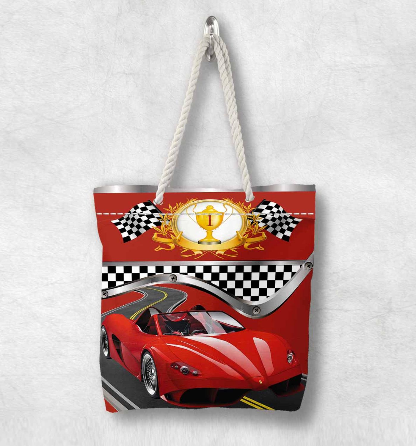 Else Red Sport Car Race Flag New Fashion White Rope Handle Canvas Bag  Cartoon Print Zippered Tote Bag Shoulder Bag