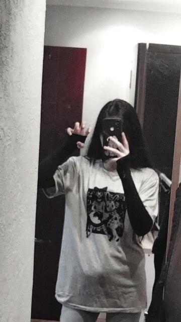 E-girl Harajuku Punk Aesthetic T-Shirt with cartoon print photo review