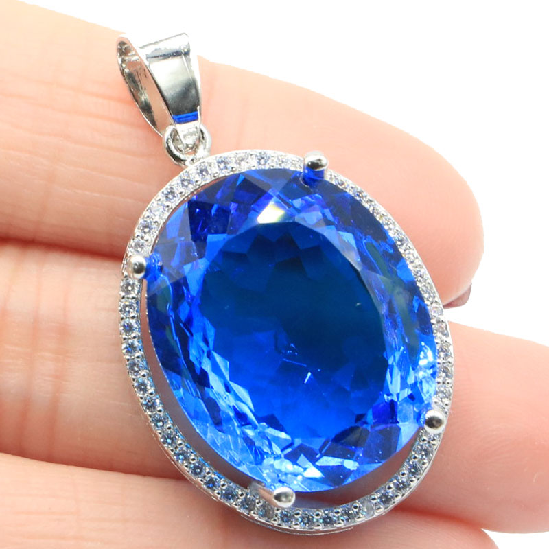 37x22mm Big Oval Gemstone 10.8g Created Paris Blue Topaz White CZ Woman's Party Making Silver Pendant