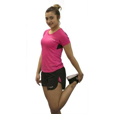 CAMISETA RUNNING VICTORY RUNAWAY JIM MUJER - TALLA S - COLOR FUCSIA Y NEGRO