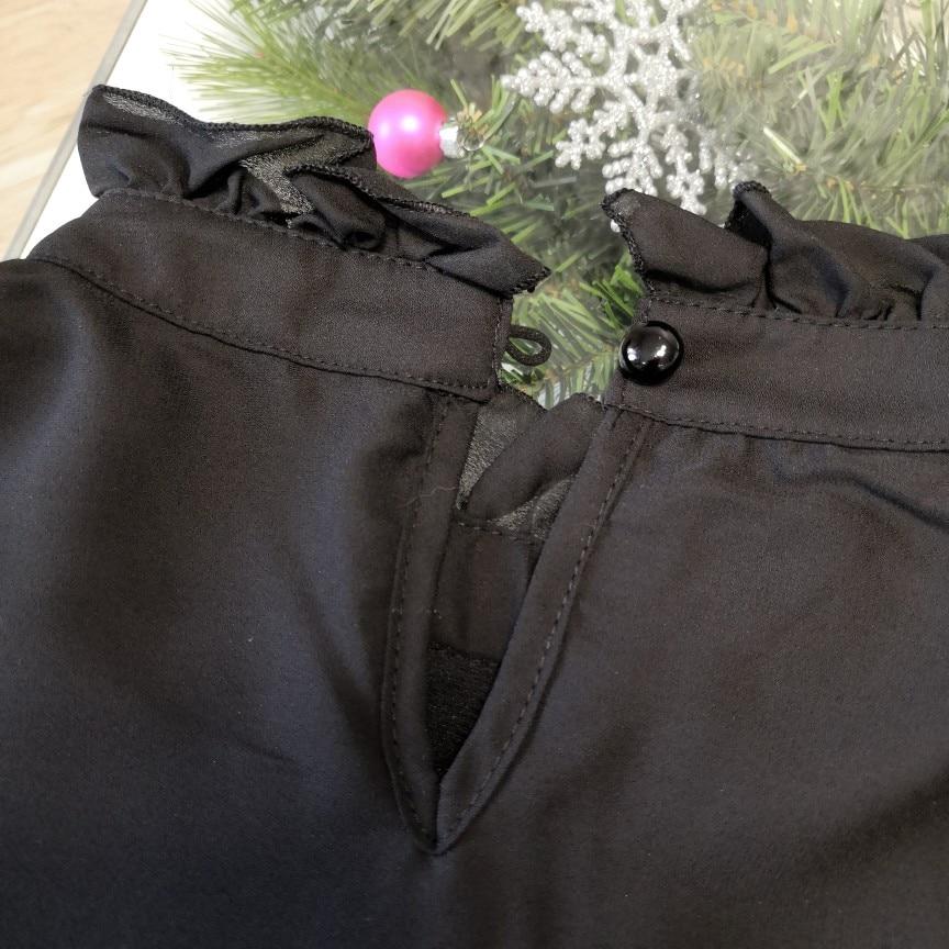 Hot 2019 autumn new fashion women's temperament commuter puff sleeve small high collar natural A word knee Chiffon dress reviews №9 342799
