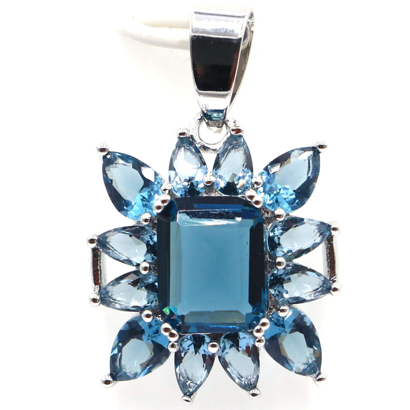 30x20mm Beautiful Created Dark London Blue Topaz Gift For Girls Silver Pendant