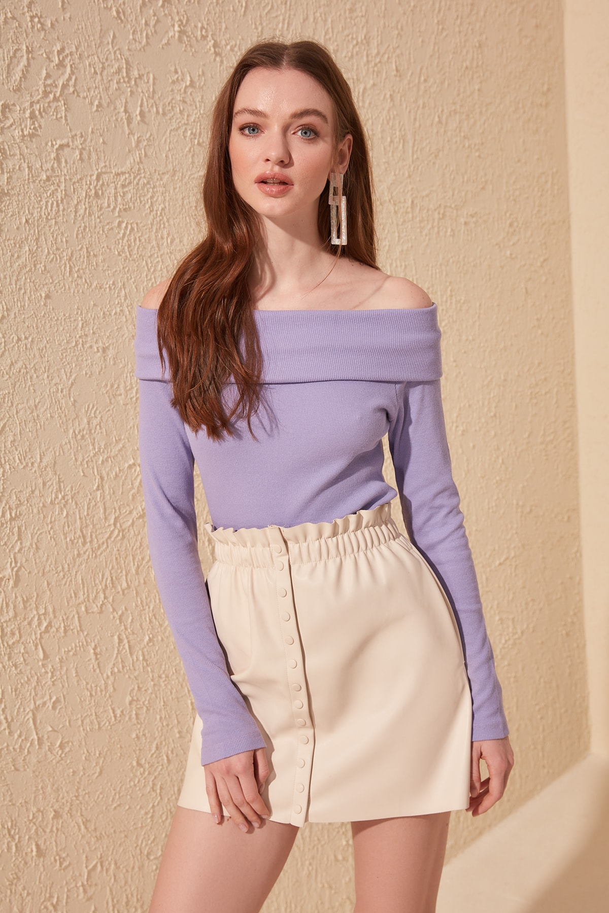 Trendyol Carmen Neck Ribbed Bluz TWOSS20BZ0190