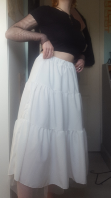 Long Midi Skirts  with Elastic High Waist and Mesh bottom photo review