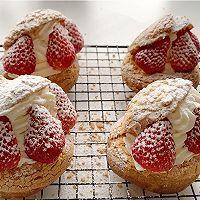 超可爱 零失败 一次就成功的草莓酥皮大泡芙的做法图解29