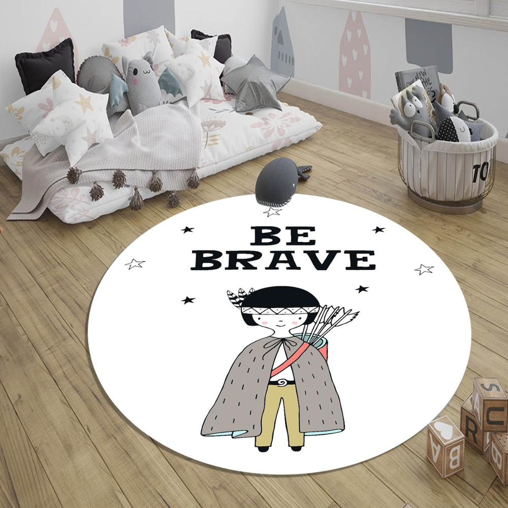 Else Black White Be Brave Red Skin Prince Boy 3d Pattern Print Anti Slip Back Round Carpets Area Rug For Kids Baby Children Room