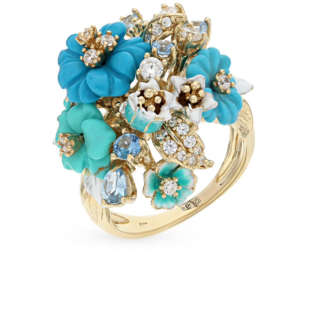 купить Silver ring with enamel and turquoise SUNLIGHT test 925 по цене 9490 рублей