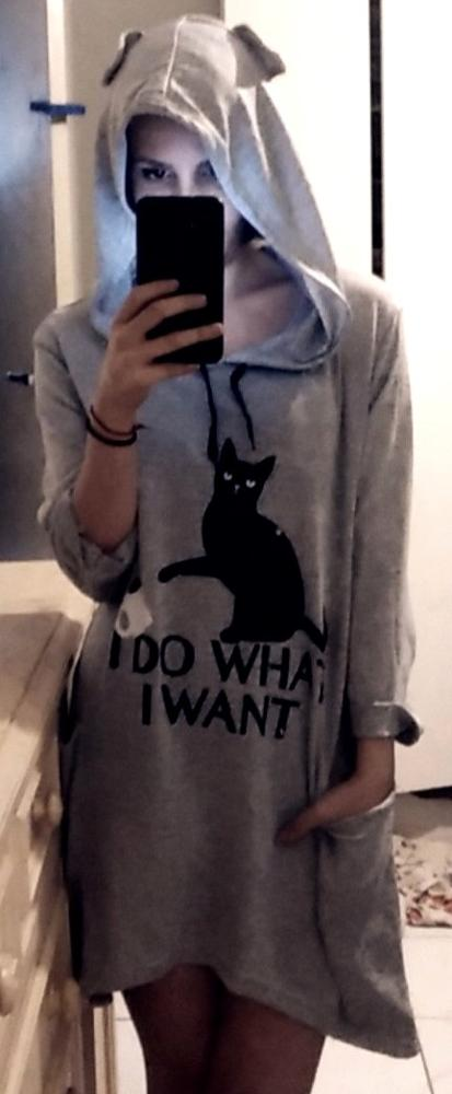 Plus Size Hoodies Women I Do What I Want Letter Print Cat And Cup Ear Pattern Pocket Oversized Sweatshirt Autumn Kawaii Pullover photo review