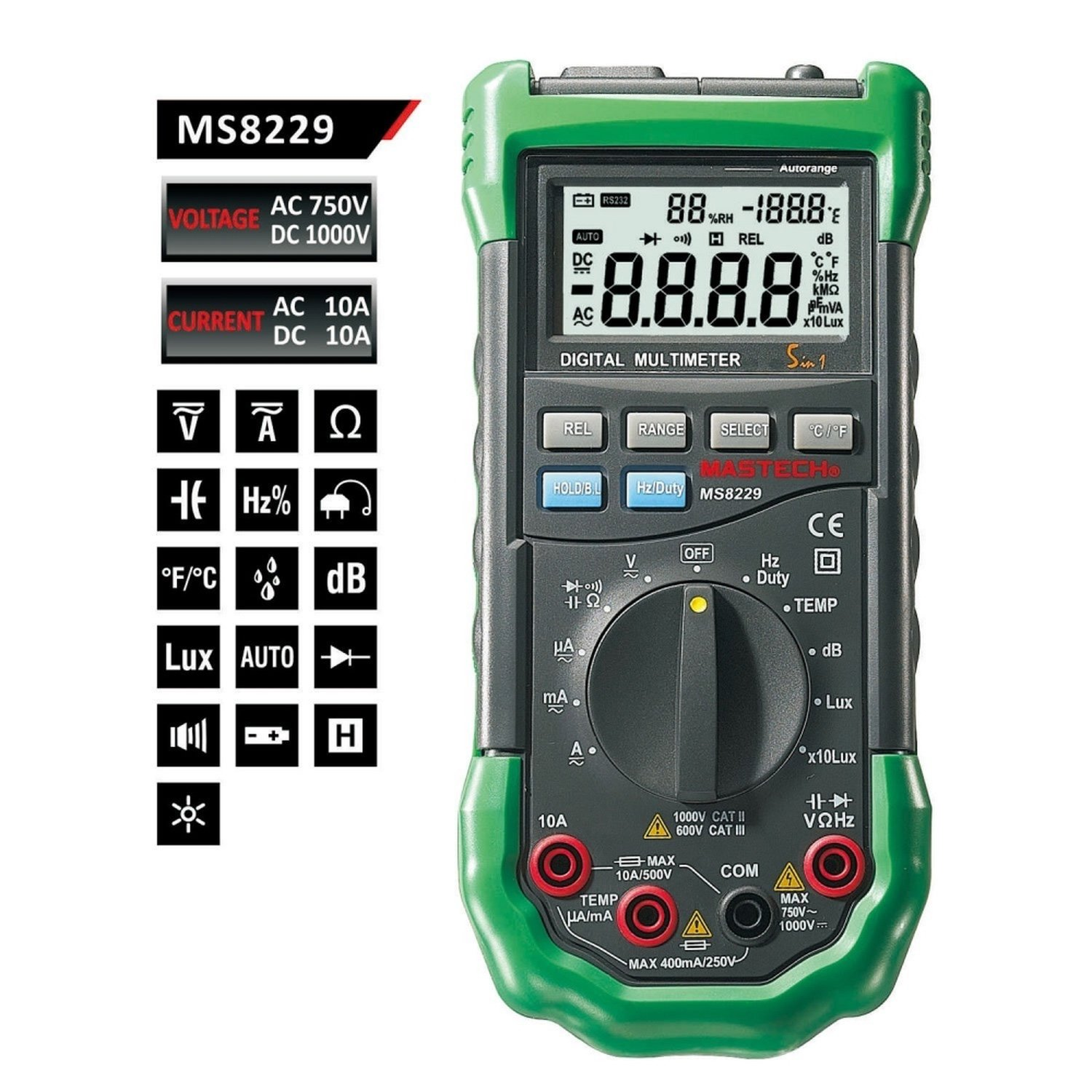 MASTECH MS8229 5 in 1 3999 Multimeter tester Lux Humidity Sound Poke backlight
