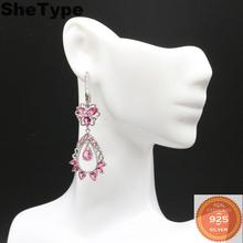 55x20mm Romantic Long 8.3g Created Pink Tourmaline Natural CZ Gift For Ladies 925 Solid Sterling Silver Earrings