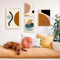 مجردة هندسية الرسم قماش اللوحة أنماط الاسكندنافية جدار صورة فنية الملصقات يطبع لغرفة المعيشة ديكور المنزل Unframe